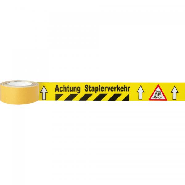 Bodenmarkierungsband-Achtung-Staplerverkehr-PVC-50mm-5mR